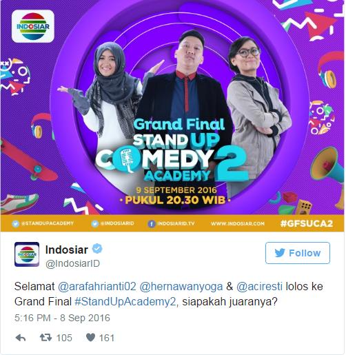 Hari ini, 3 Komika Bersaing di Grand Final SUCA 2 Indosiar