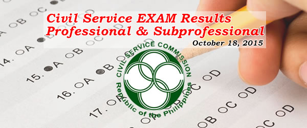 List of Passers: CARAGA - October 18, 2015 CSE-PPT (Professional) Results / Civil Service Exam - Paper Pencil Test