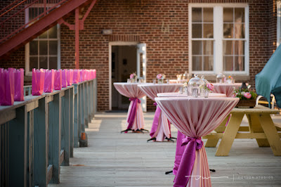pink cocktail tables, wedding cocktail hour, outdoor cocktail hour, classic wedding theme, pink wedding theme