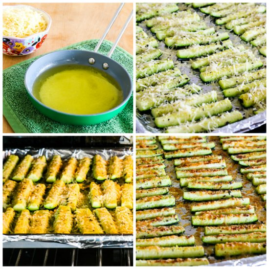 Low-Carb and Gluten-Free Parmesan Encrusted Zucchini  found on KalynsKitchen.com