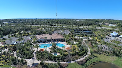 Overhead view of Bellacina by Casey Key community pool