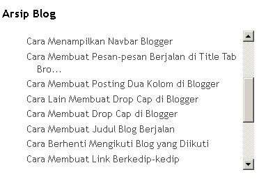 Cara Memberi Scroll pada Arsip Blog dan Label