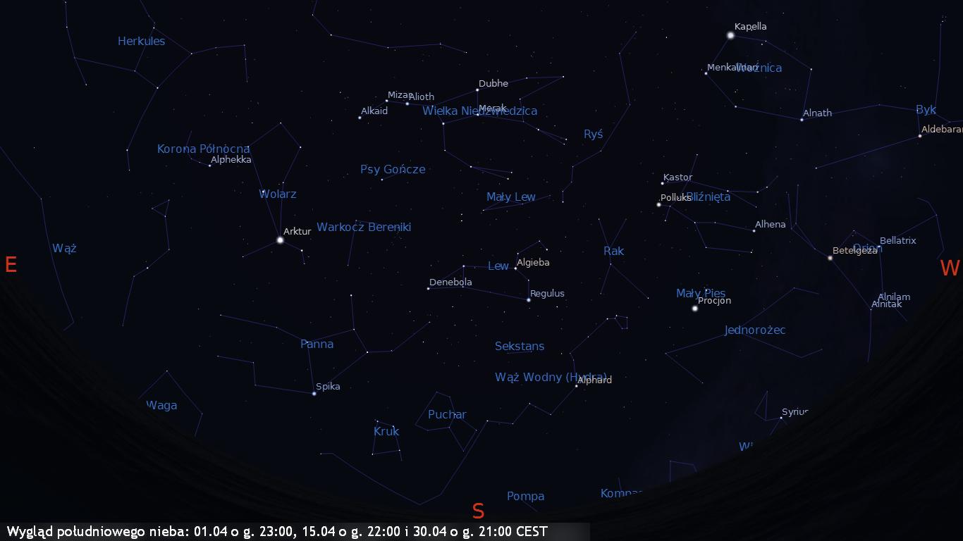 Wygląd południowego nieba 01.04 o g. 23:00, 15.04 o g. 22:00 i 30.04 o g. 21:00 CEST