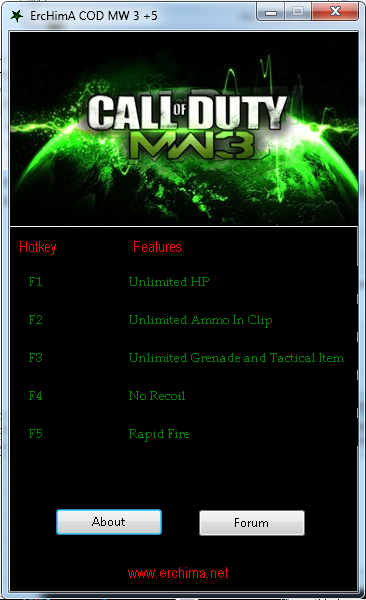 Trainer Call of Duty: Modern Warfare 3 +5 Multi Features