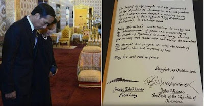 Jokowi melayat Raja Thailand