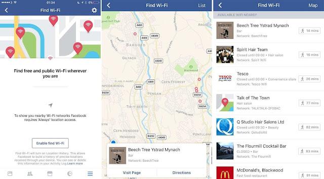فيس بوك - ميزة العثور علي واي فاي