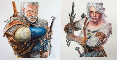 Personajes del videojuego The Witcher pintados en acuarela