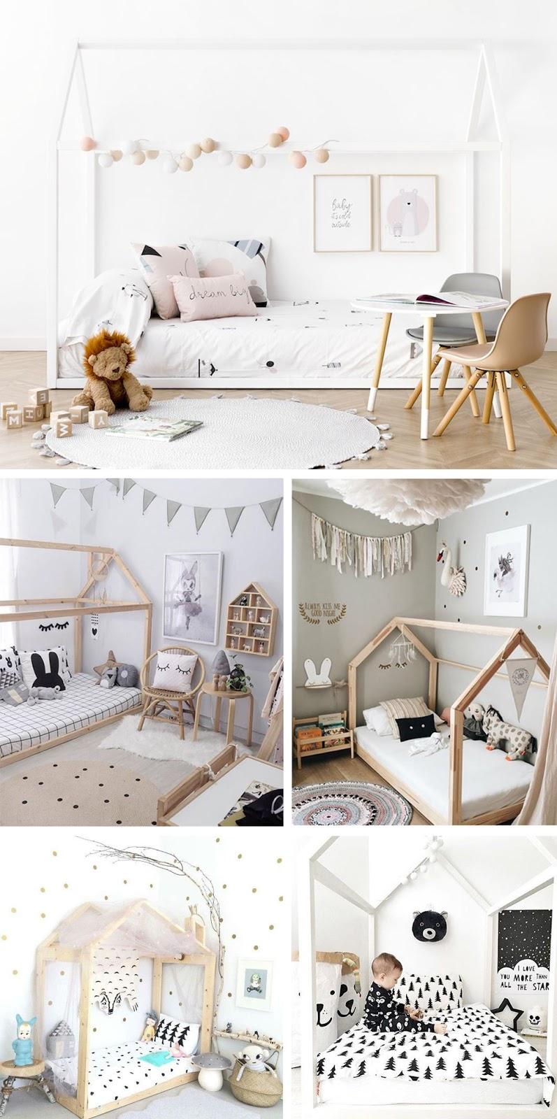cama casa a ras del suelo para decorar habitacion infantil Montessori bonita
