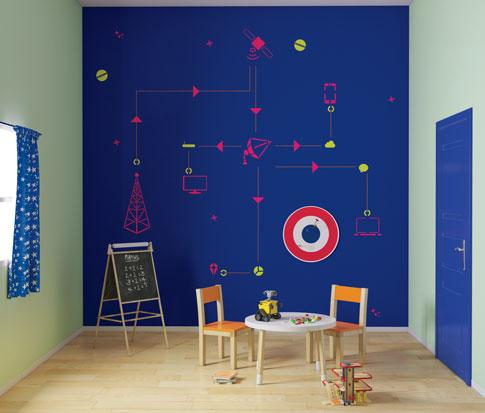 الوان حائط غرفة اطفال بطاولة وكرسي