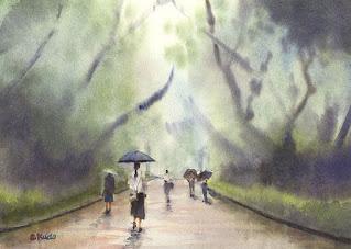 雨の公園 水彩画。 雨の日の上野公園を題材に雨に煙る風景を描きました。