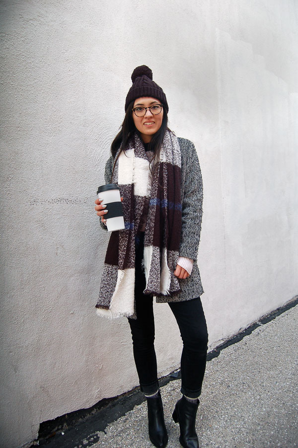 Blanket Scarf Gray Coat