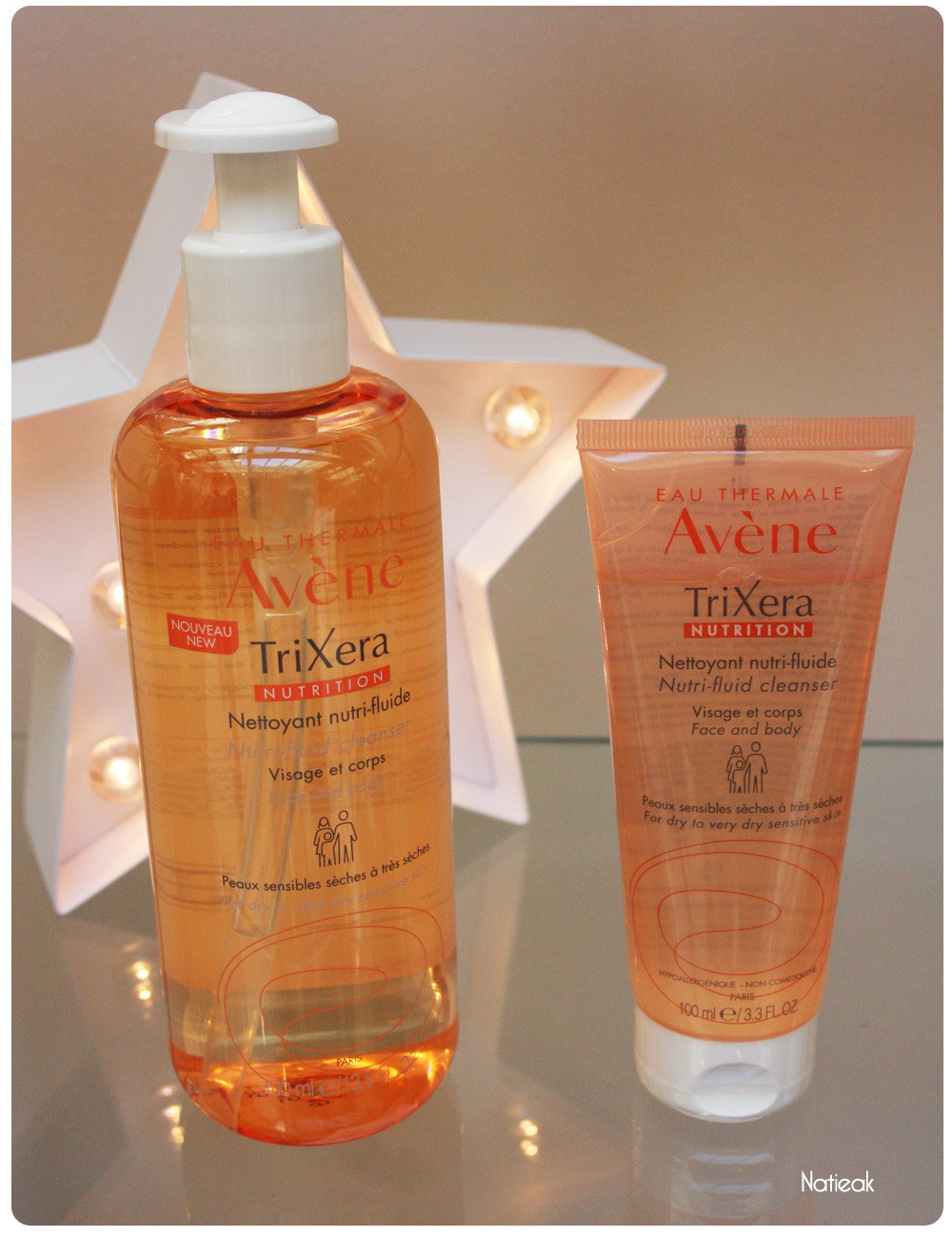 TriXera Nettoyant nutri-fluide format 400ml (13 €) et 100 ml (4 €)