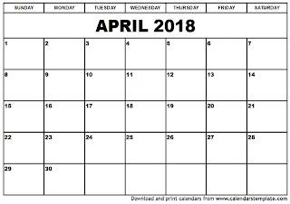 Free Printable Calendar April 2018