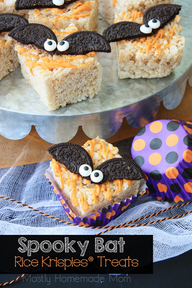 Spooky Bat Rice Krispie Treats, by Mostly Homemade Mom