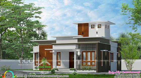 1173 square feet 1 bedroom low cost Kerala home plan