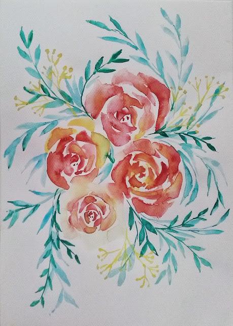 akwarela - róże