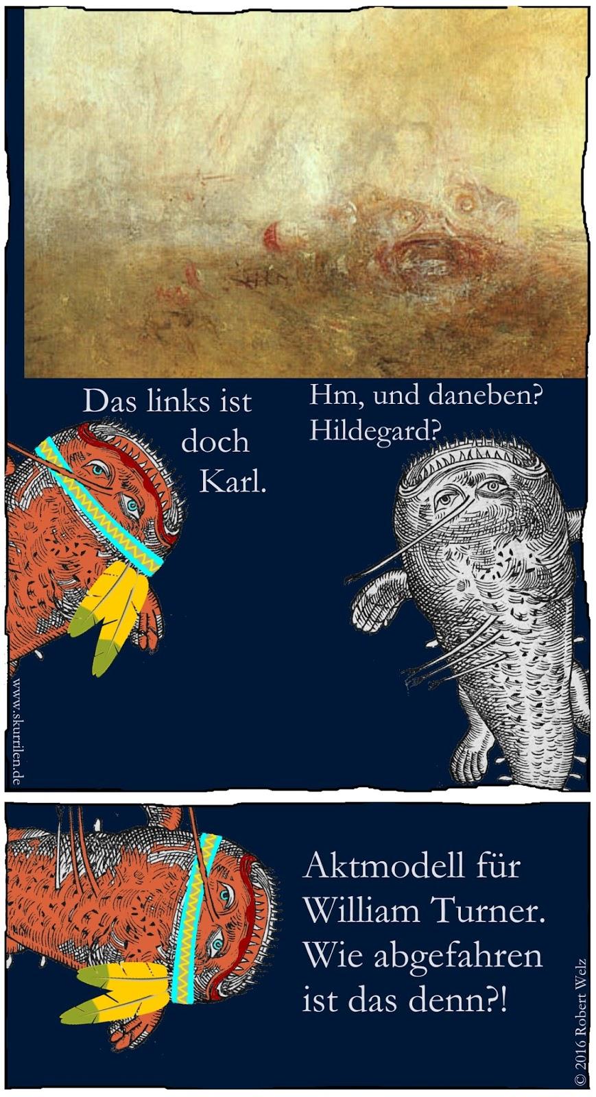 Kunst der Romantik & Kunstbetrachtung im komischen Collage-Comic. Unsere zwei kunstsinnigen Seeungeheuer entdecken auf William Turners Gemälde gute Freunde.