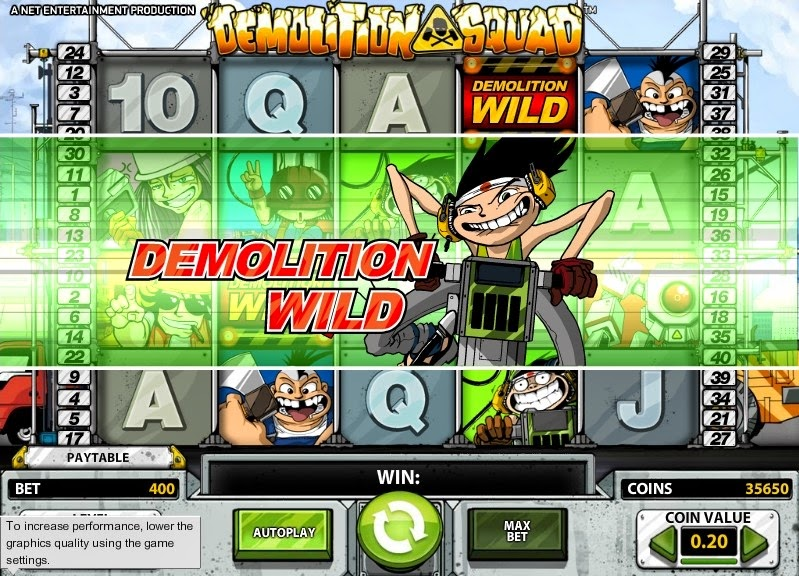Demolition Squad Video Slot Screen