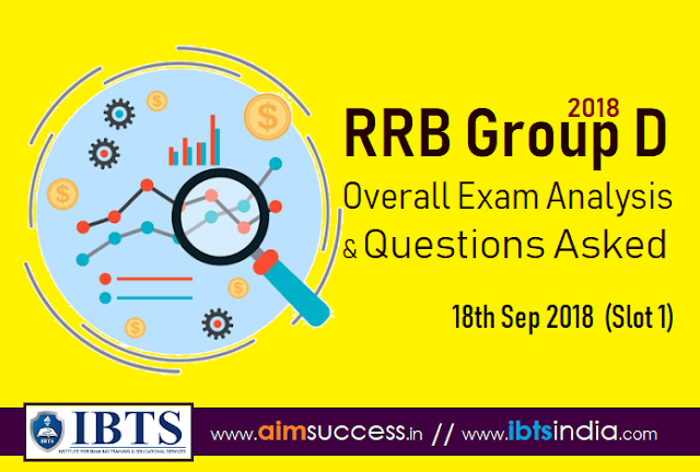 RRB Group D Exam Analysis 18th Sep 2018 & Questions Asked (Slot 1)