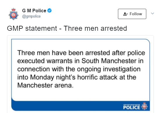 Manchester attack: UK Police confirm the arrest of three more men