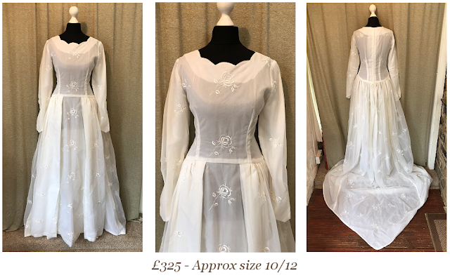 1950s long sleeve embroidered lace scallop neckline vintage wedding dress with train available from vintage lane bridal boutique bolton manchester