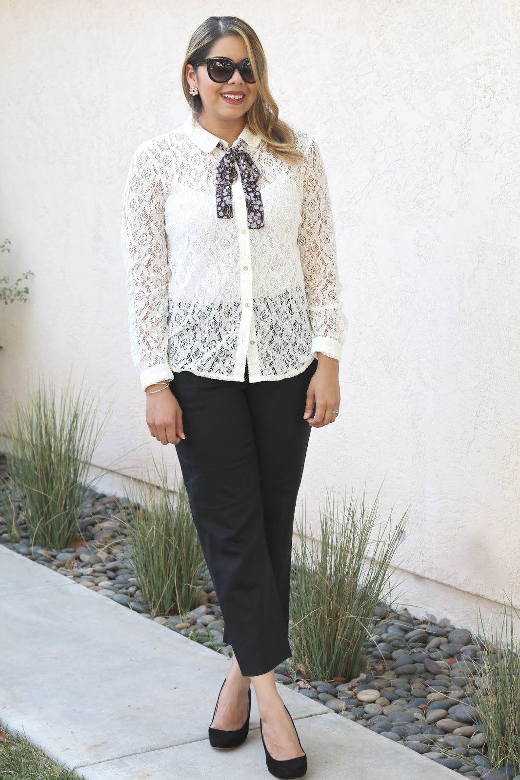 borrowed from the boys, gossip girl inspired outfit, lace kohls top