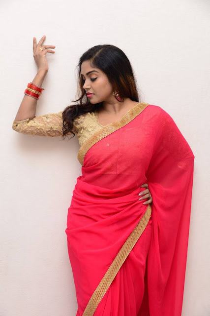 Karunya Chowdary Latest Hot Cleveage Spicy Pink Traditional Transparent Saree PhotoShoot Images At Neerajanam Movie Audio Launch