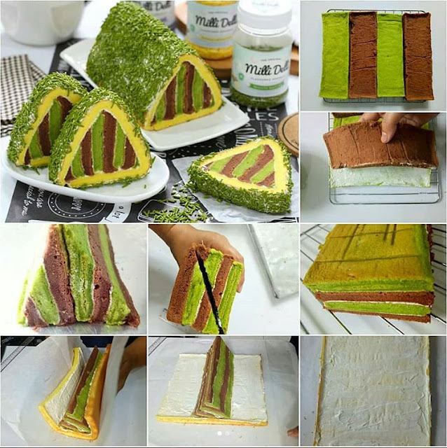 Green Tea and Chocolate Triangle Roll Cake