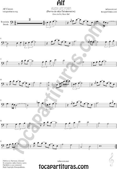Alf Partitura de Trombón Bombardino Sheet Music for Trombone Euphonium
