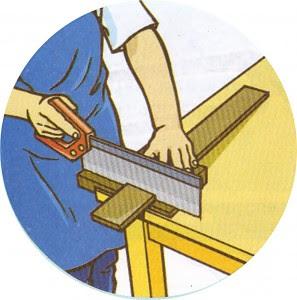ilustrasi memotong kayu