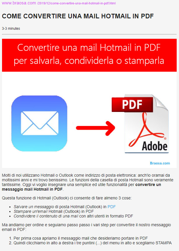 Pagina web convertita in PDF