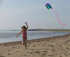 Kid Flying a Kite at the Beach