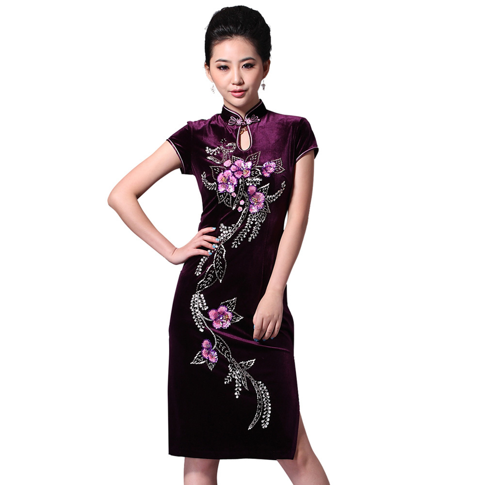 6386e59ed If your body is plump, suitable to wear X-type cheongsam, this style can be  played in full hips better concealing effect. If it is a lively bride is  more ...