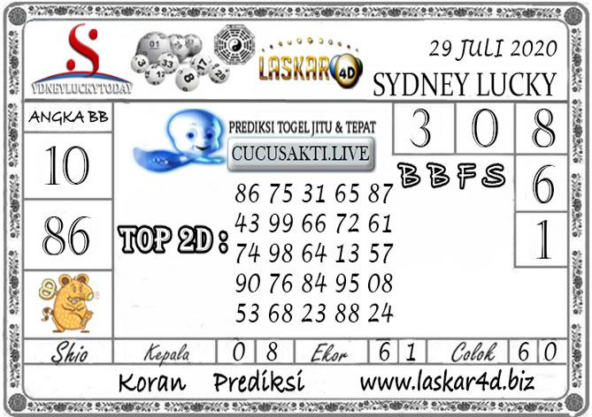 Prediksi Sydney Lucky Today LASKAR4D 29 JULI 2020