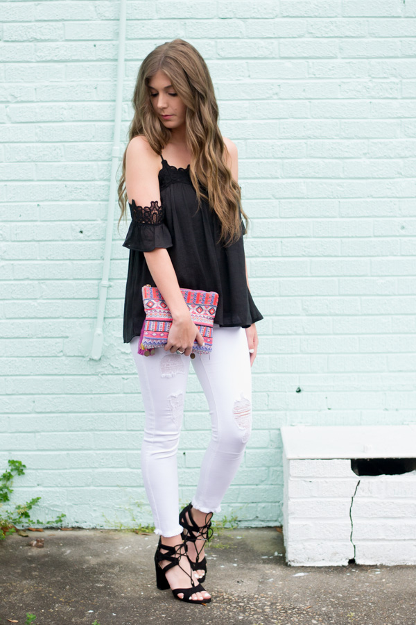 Black Lace Top: A Little Bit Of Lace Goes A Long Way by Charleston fashion blogger Kelsey of Chasing Cinderella