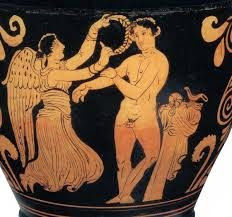 "Victor of ancient Olympic games being crowned with a ""Kotinos"" Olive leave wreath, depicted on Ancient Greek pottery"