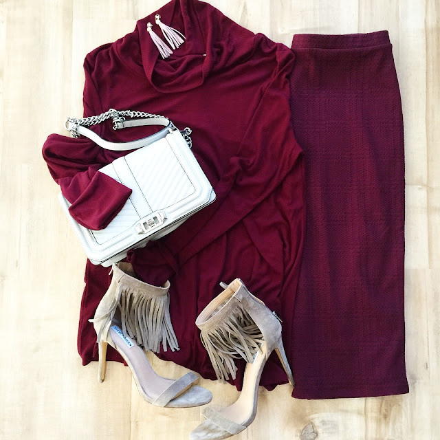 burgundy pencil skirt burgundy mock neck top grey fringe heels grey boxy boy bag