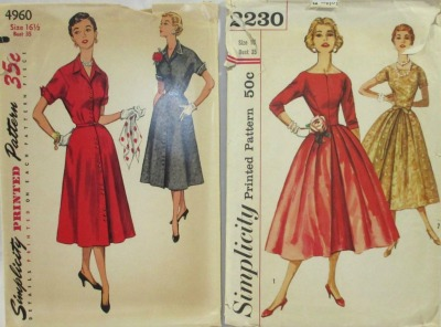 Collection of Simplicity 1950's dresses described as After Five Dress Patterns