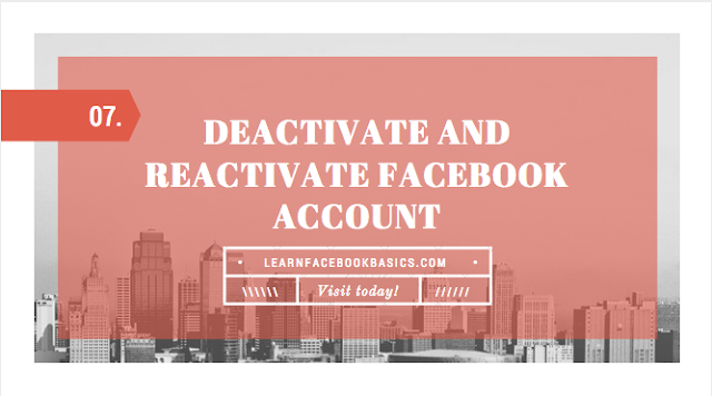 Deactivate And Reactivate Facebook Account