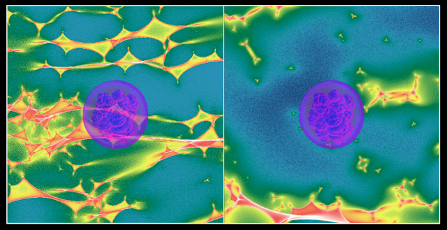 This composite of two astrophysics simulations shows a Type Ia supernova (purple disc) expanding over different microlensing magnification patterns (colored fields). Because individual stars in the lensing galaxy can significantly change the brightness of a lensed event, regions of the supernova can experience varying amounts of brightening and dimming, which scientists believed would be a problem for cosmologists measuring time delays. Using detailed computer simulations at NERSC, astrophysicists showed that this would have a small effect on time-delay cosmology. (Credit: Danny Goldstein/UC Berkeley)