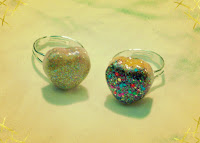 Glittering Candy Heart Rings
