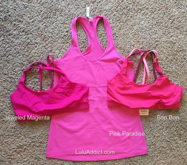 lululemon color-comparison pink-paradise-jeweled-magenta-bon-bon