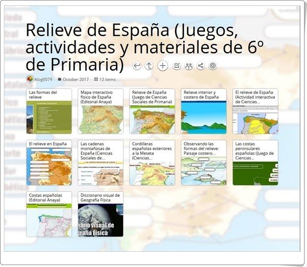 """""""12 Juegos, actividades y materiales didácticos para el estudio de EL RELIEVE DE ESPAÑA en 6º de Primaria"""""""