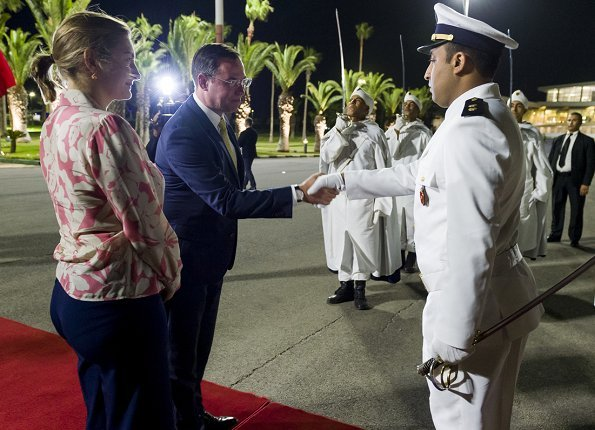 Prince Guillaume and Princess Stephanie arrived in Casablanca-Settat, Morocco. She wore floral print blouse