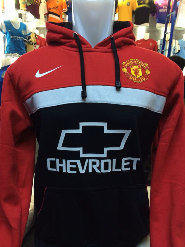 Jaket Hoodie Manchester United Hitam Merah List Putih Nike