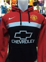 Jual Jaket Hoodie Manchester United Chevrolet Hitam Merah List Putih Nike
