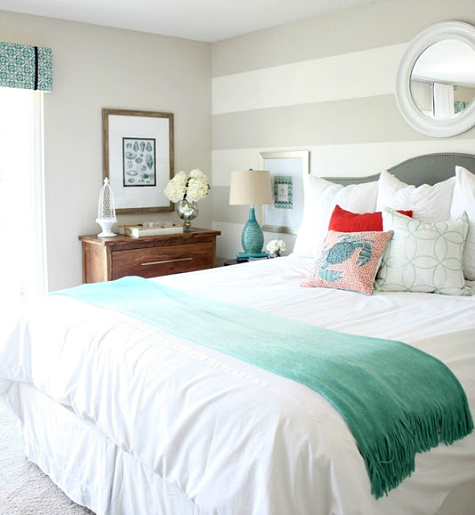 coastal master bedroom makeover in ocean hues completely