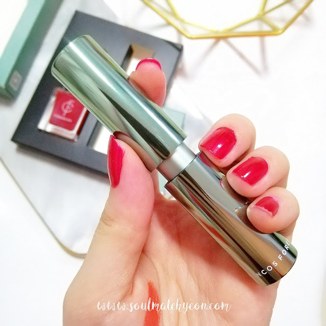 Review; Forencos' Unforgettable Mellifluous Glossy Rouge E500 SILVER LINING ORANGE