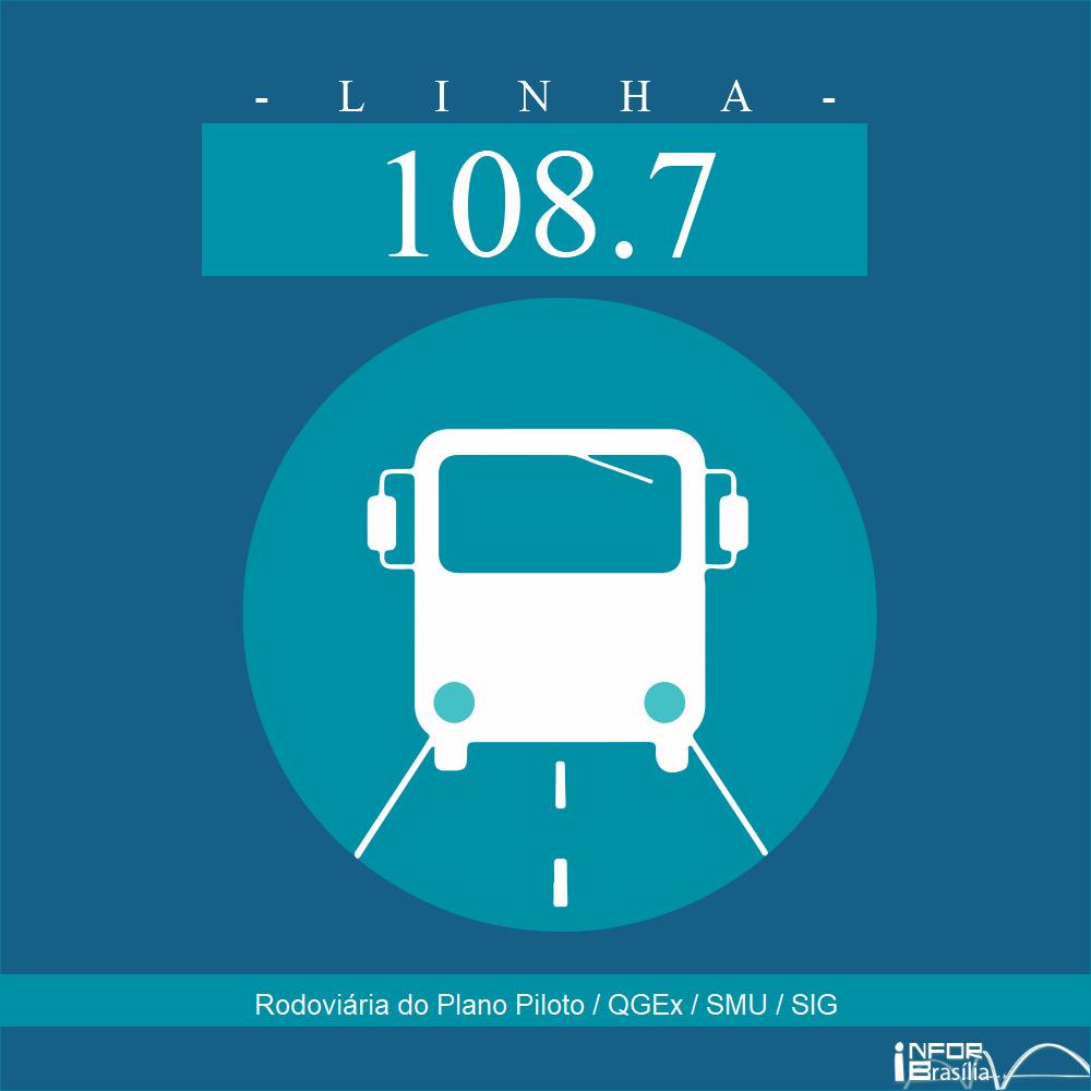 Horário de ônibus e itinerário 108.7 - Rodoviária do Plano Piloto / QGEx / SMU / SIG
