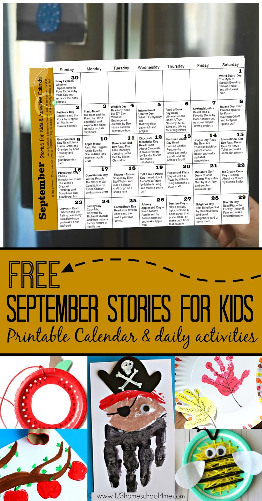 September Stories For Kids Activity Calendar